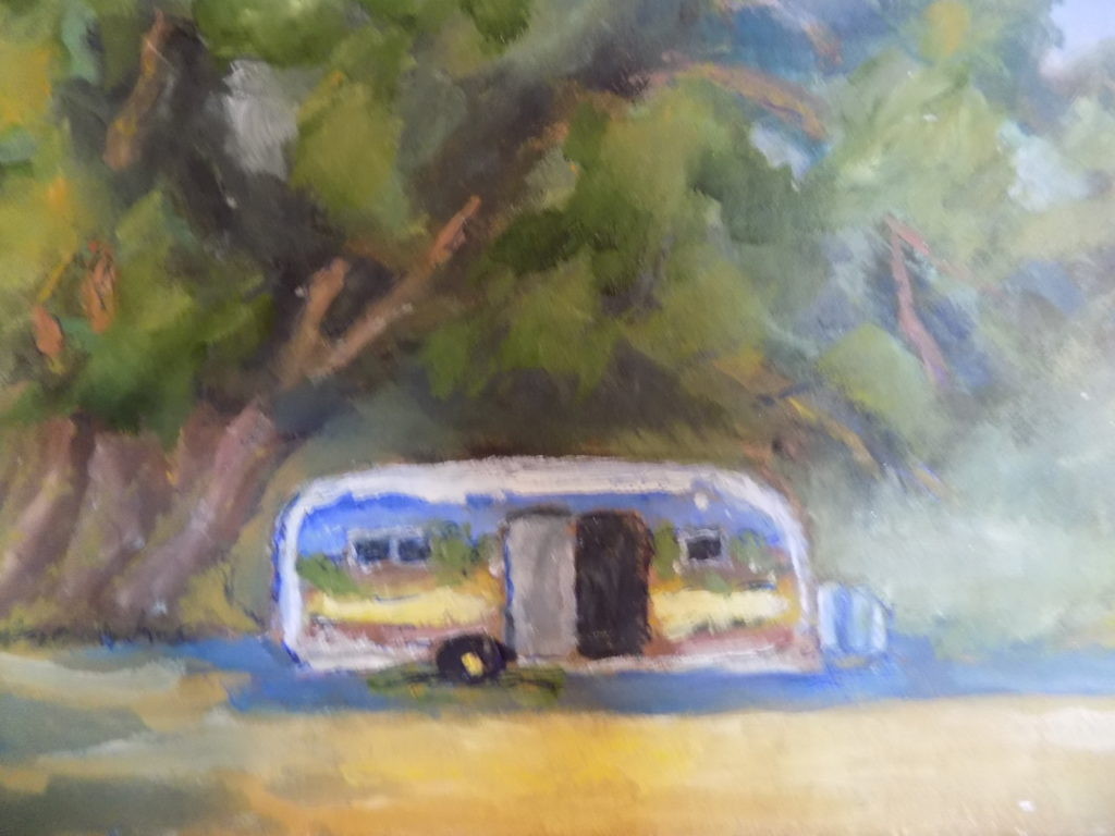 close up painting of travel trailer parked under tree for the love of art