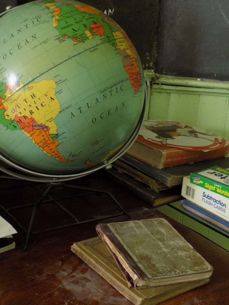 old time globe and school books